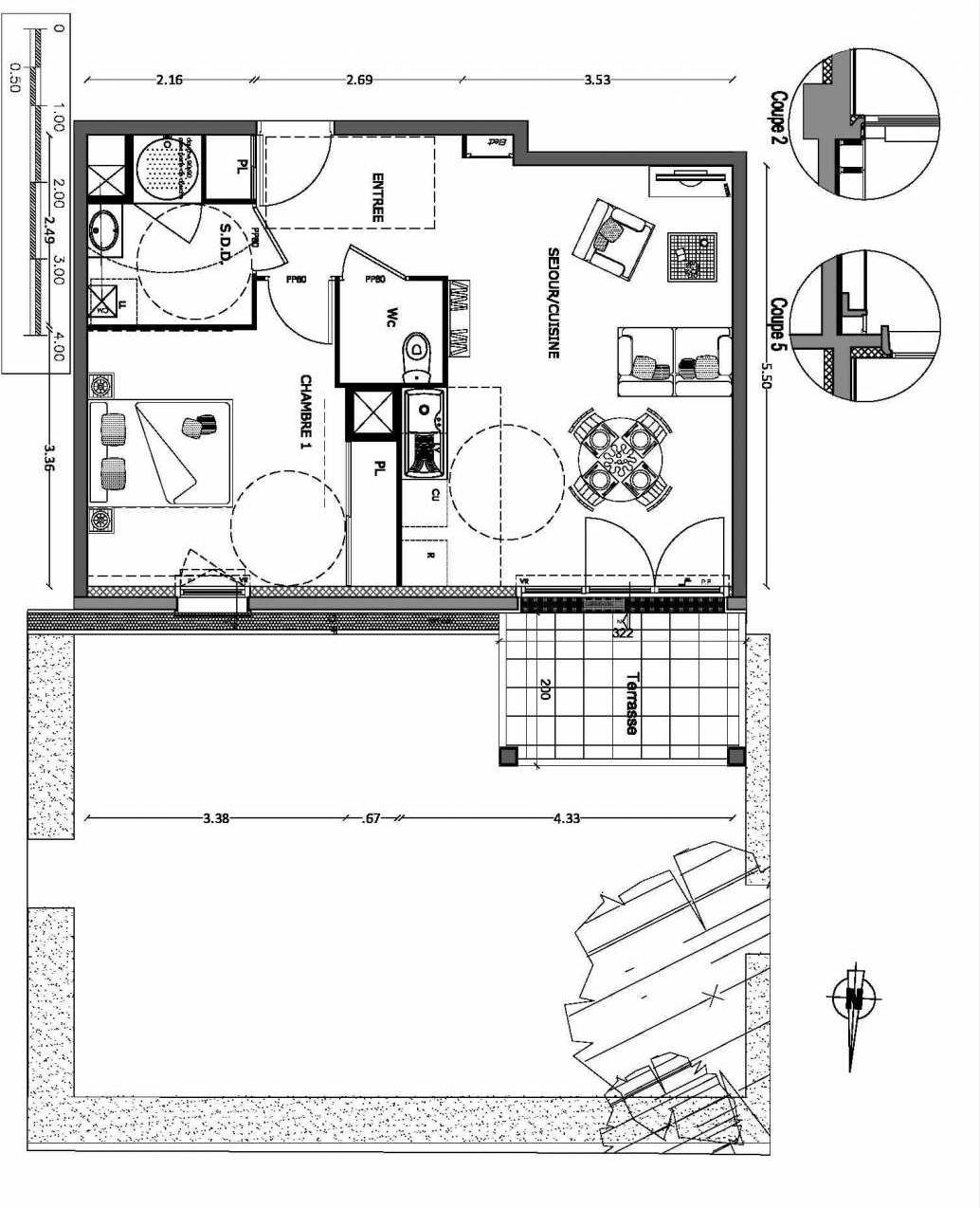 Plan 8, appartement neuf type T2 au Rez de chaussée, orienté Nord faisant 47m² du programme neuf NOUVELLE VAGUE BATIMENT B - ACCESS 37 LOTS à Benerville-sur-Mer.