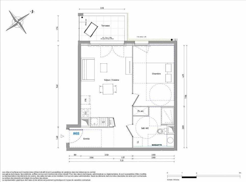 Plan 803, appartement neuf type T2 au Rez de chaussée, orienté Ouest faisant 45m² du programme neuf 1887 - TENOR BAT B à Dijon.