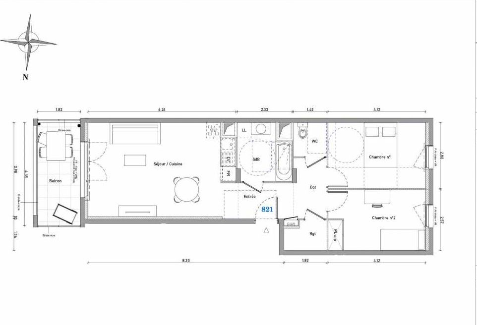 Plan 821, appartement neuf type T3 au 2ème étage, orienté Est faisant 63m² du programme neuf 1887 - TENOR BAT B à Dijon.