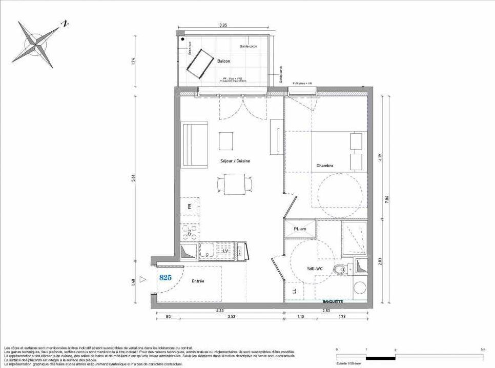 Plan 825, appartement neuf type T2 au 2ème étage, orienté Ouest faisant 45m² du programme neuf 1887 - TENOR BAT B à Dijon.