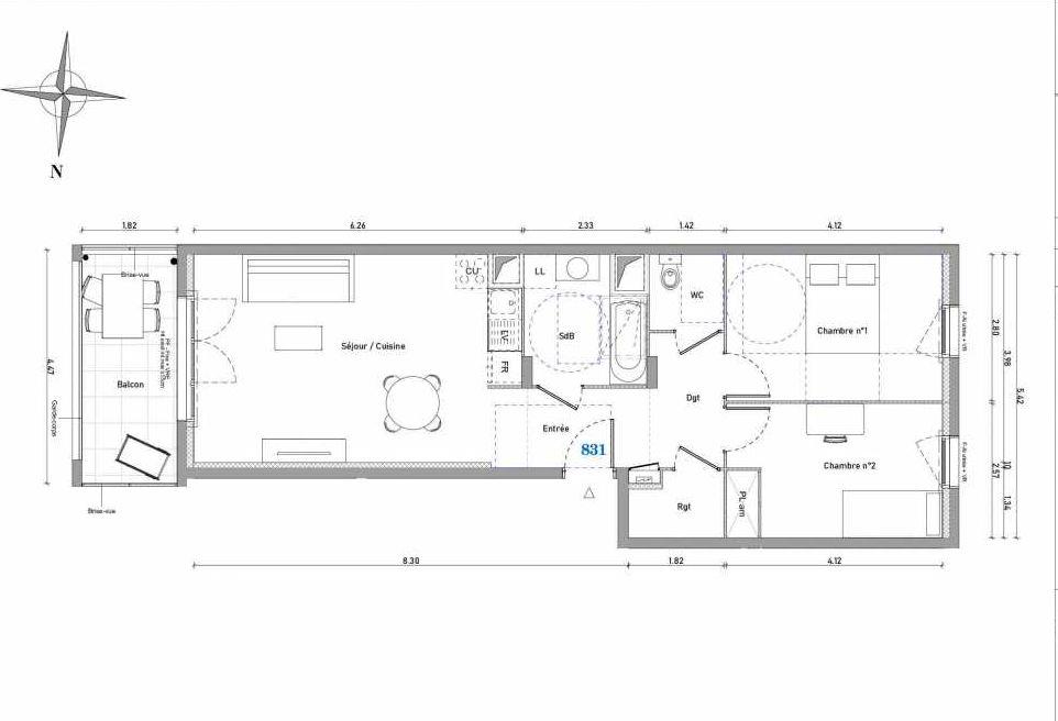 Plan 831, appartement neuf type T3 au 3ème étage, orienté Est faisant 63m² du programme neuf 1887 - TENOR BAT B à Dijon.