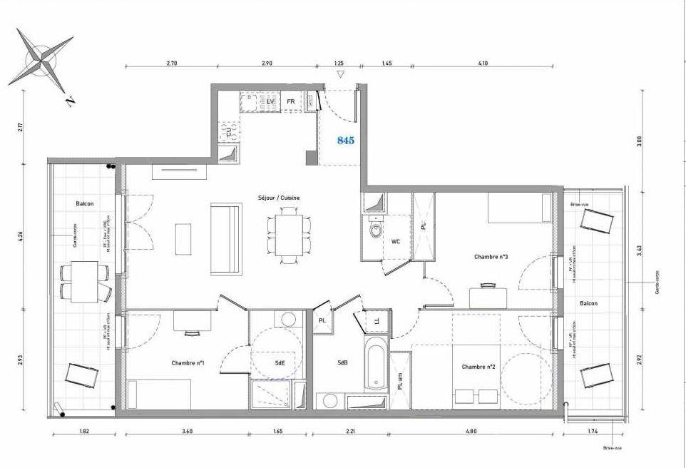 Plan 845, appartement neuf type T4 au 4ème étage, orienté Est faisant 91m² du programme neuf 1887 - TENOR BAT B à Dijon.
