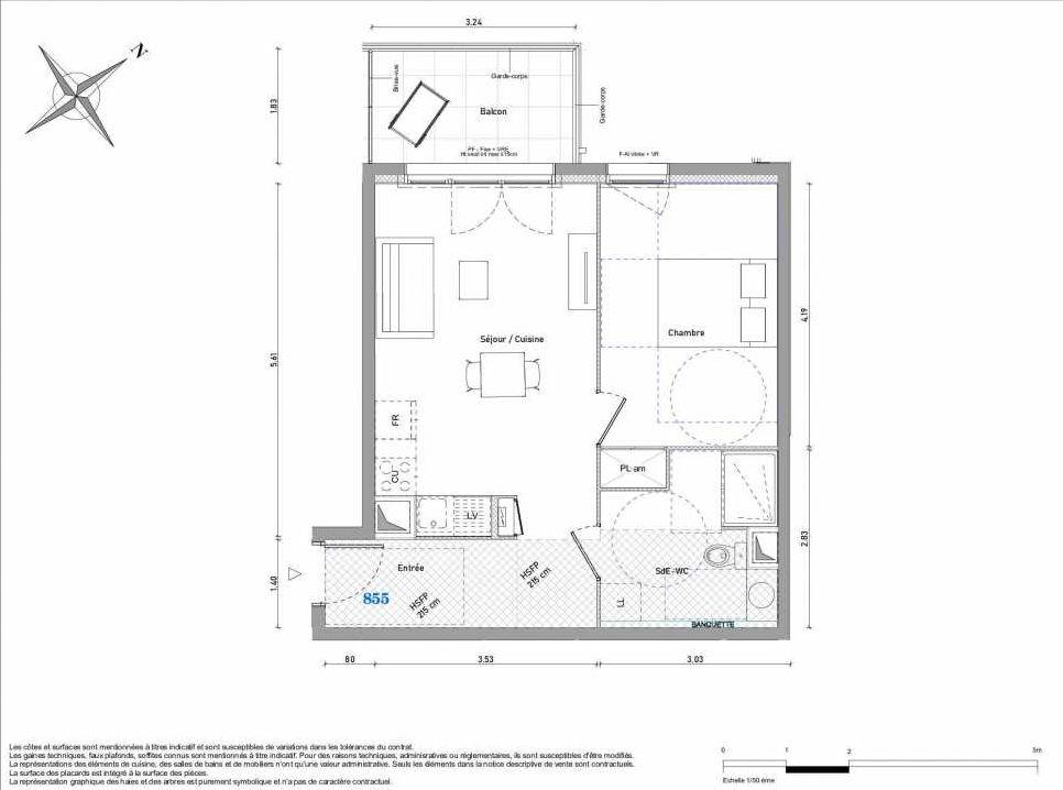 Plan 855, appartement neuf type T2 au 5ème étage, orienté Ouest faisant 45m² du programme neuf 1887 - TENOR BAT B à Dijon.