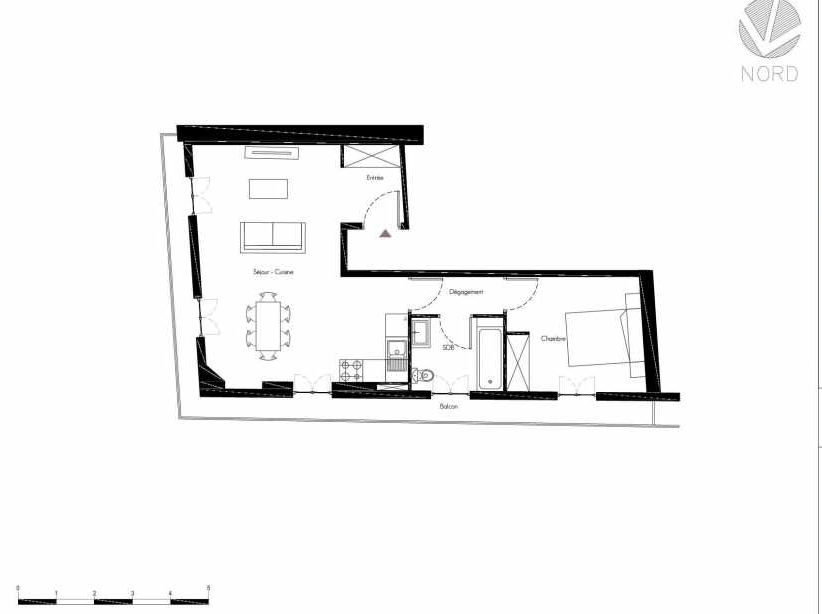 Plan 9, appartement neuf, faisant 48m² du programme neuf 1 Rue Grignan à Marseille.
