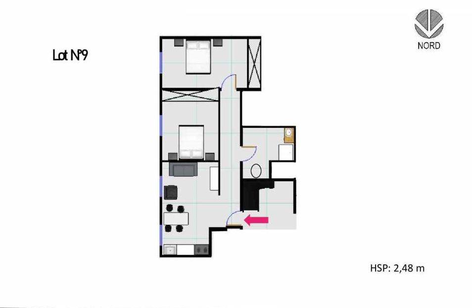 Plan 9, appartement neuf, faisant 48m² du programme neuf 11 Rue Montmajour à Marseille.