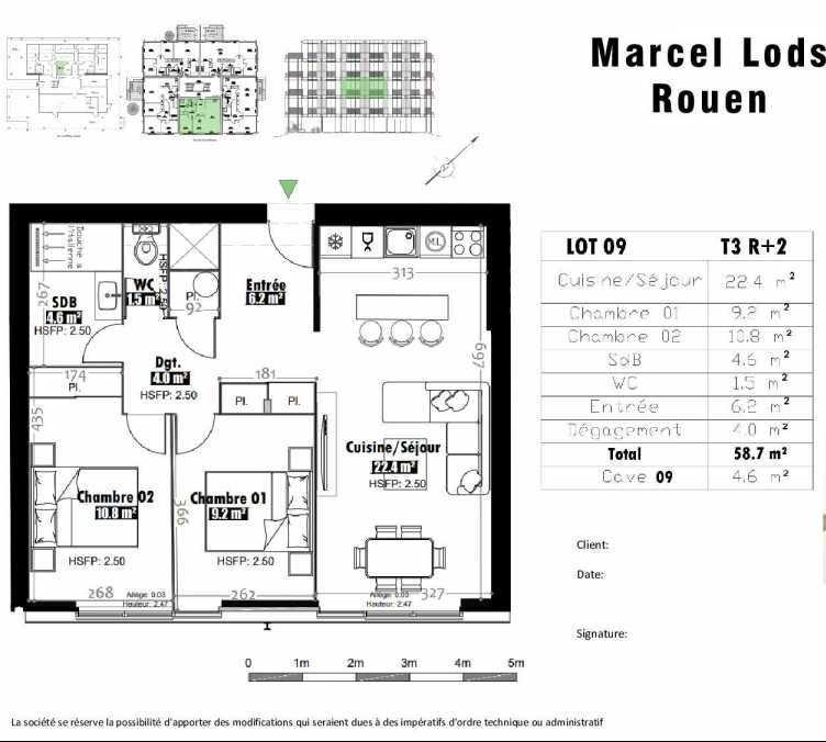 Plan 9, appartement neuf type T3 au 2ème étage, faisant 59m² du programme neuf 15 rue Jean-Philippe Rameau à Rouen.