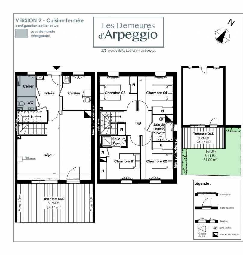 Plan 9, appartement neuf type T5 au Rez de chaussée, orienté Sud faisant 112m² du programme neuf LES DEMEURES D'ARPEGGIO à Le Bouscat.