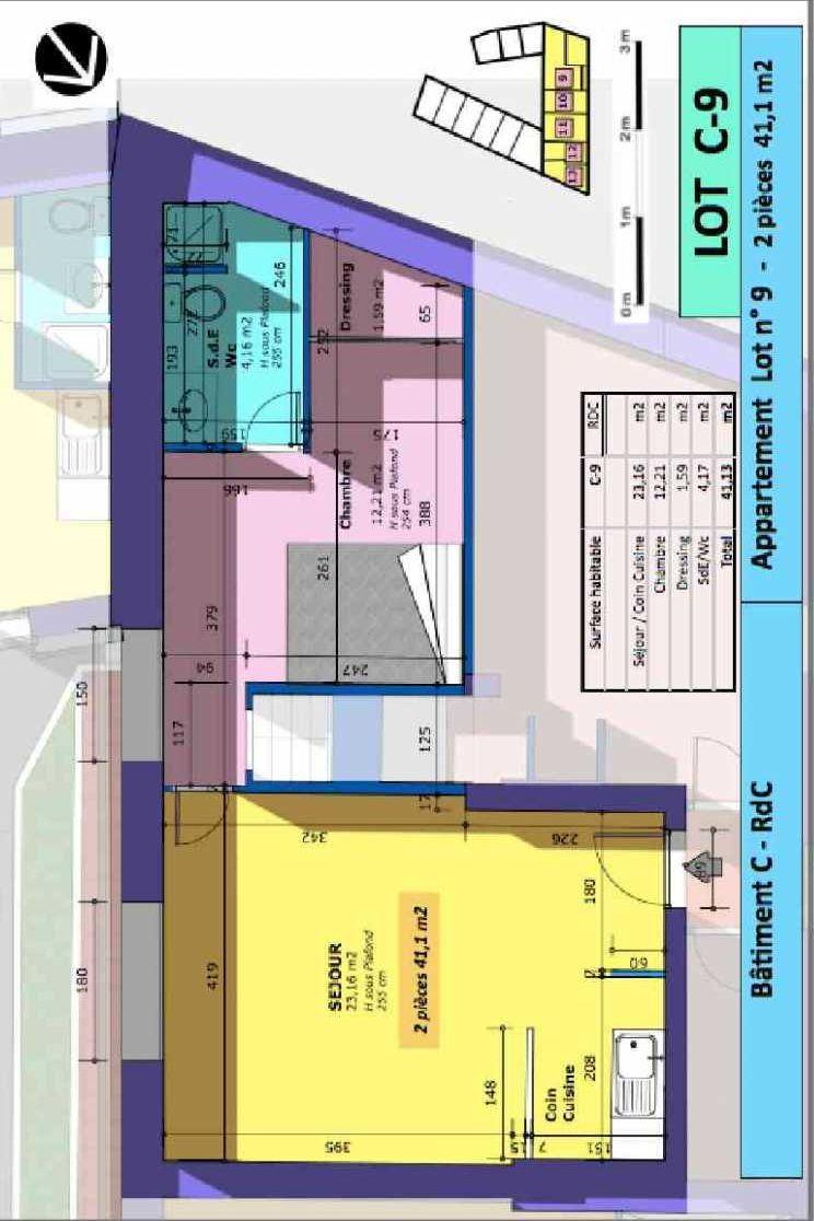 Plan 9, appartement neuf type T2 au Rez de chaussée, faisant 41m² du programme neuf Rue de Gournay - Bat C à Chelles.