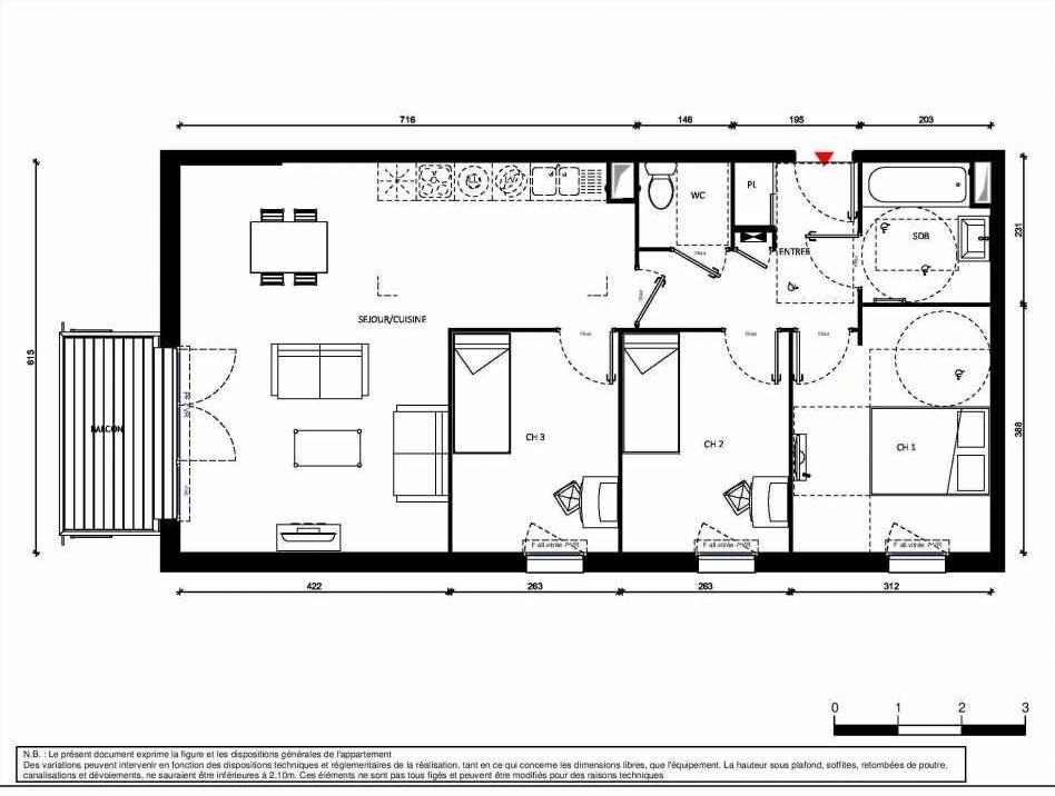 Plan 9012, appartement neuf type T4 au 1er étage, orienté Sud faisant 76m² du programme neuf GREEN STATION BAT A2 15 LOTS AL à Comines.