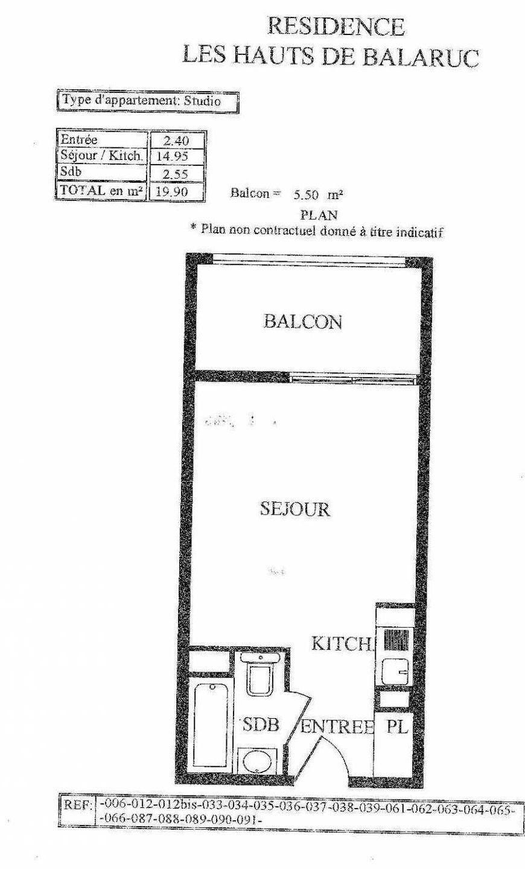 Plan 91, appartement neuf type T1 au 3ème étage, orienté Ouest faisant 19m² du programme neuf LES HAUTS DE BALARUC à Balaruc-les-Bains.