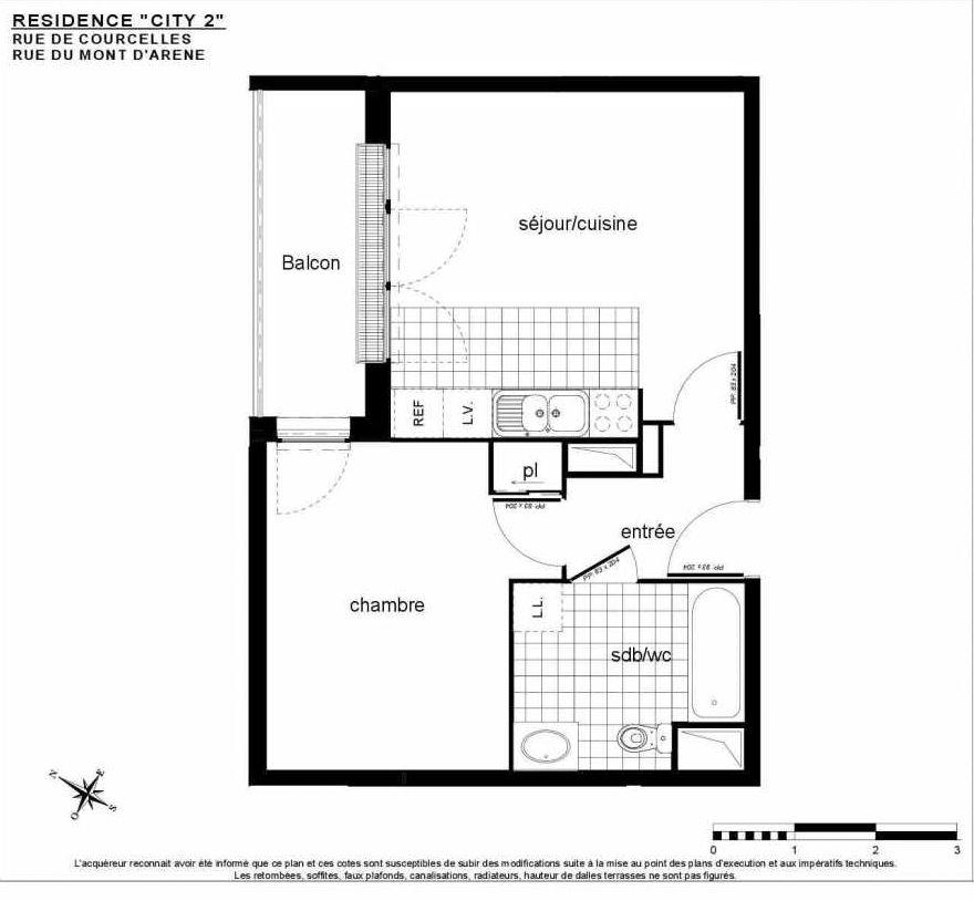 Plan A 503, appartement neuf type T2 au 5ème étage, faisant 41m² du programme neuf City 2 à Reims.