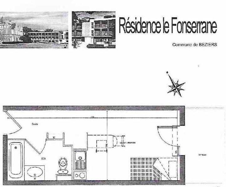 Plan A 82, appartement neuf type T1 au 2ème étage, orienté Sud faisant 19m² du programme neuf LA FONSERRANE à Béziers.