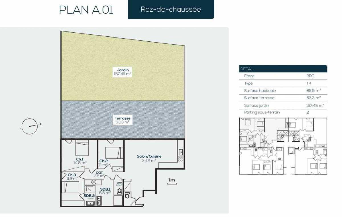 Plan A0-1, appartement neuf type T4 au Rez de jardin, orienté Sud faisant 85m² du programme neuf SANARIAN à Sanary-sur-Mer.