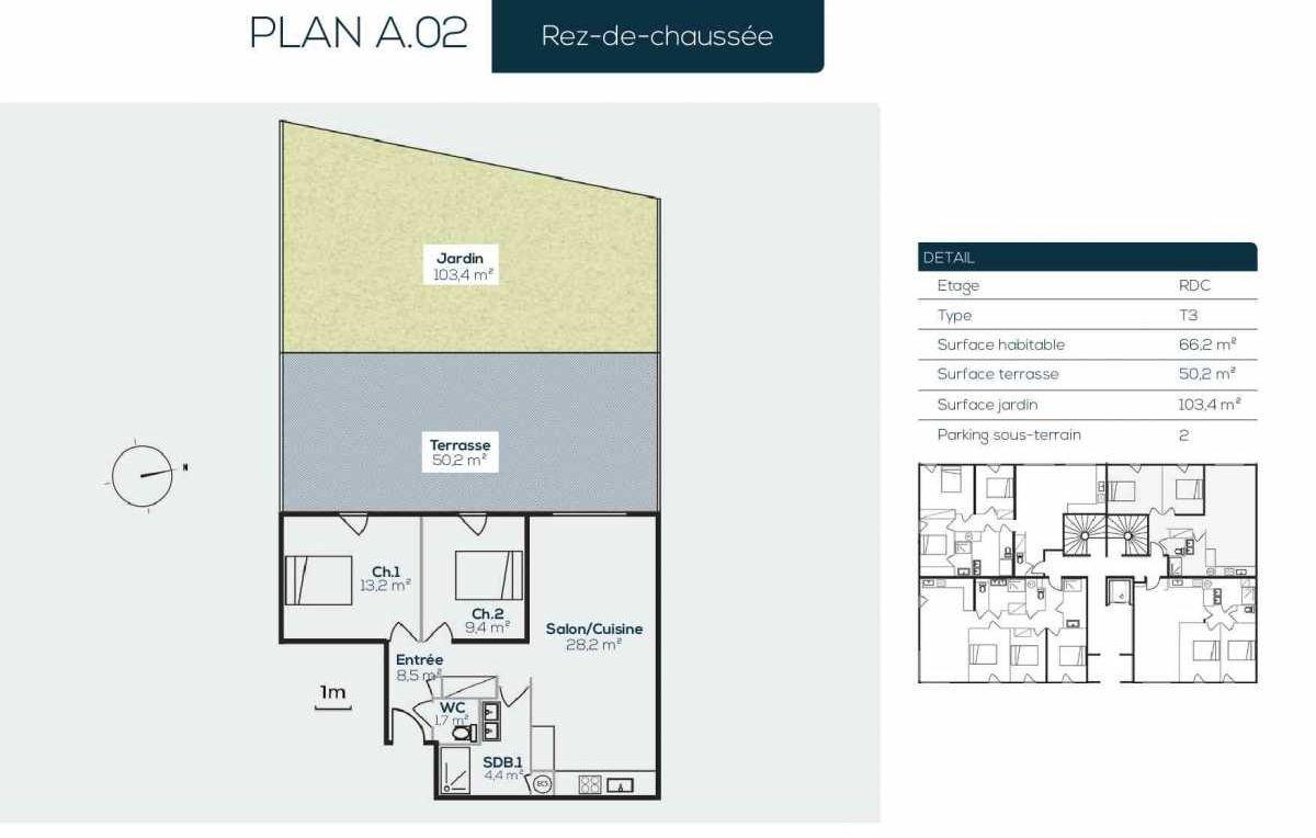 Plan A0-2, appartement neuf type T3 au Rez de jardin, orienté Ouest faisant 66m² du programme neuf SANARIAN à Sanary-sur-Mer.