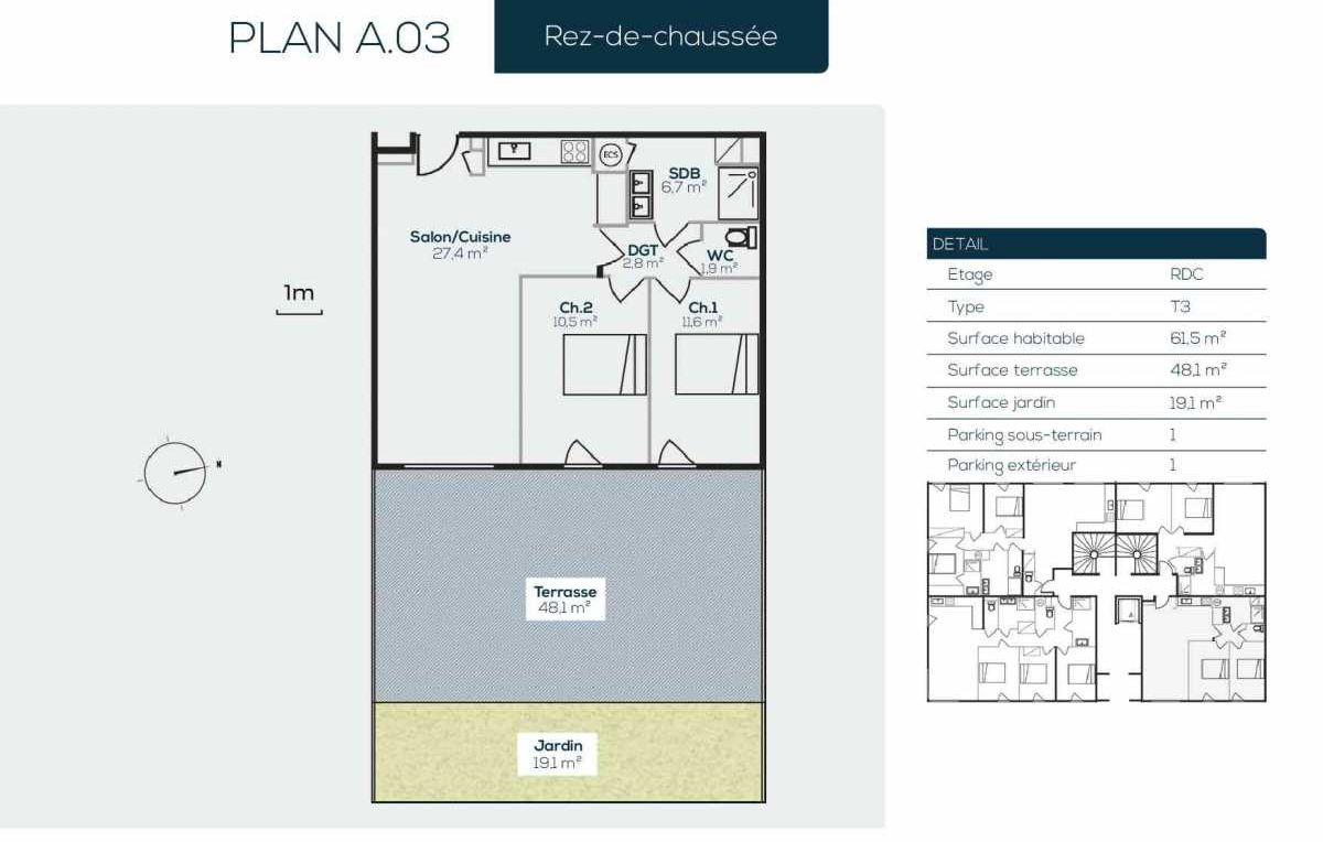Plan A0-3, appartement neuf type T3 au Rez de jardin, orienté Est faisant 61m² du programme neuf SANARIAN à Sanary-sur-Mer.