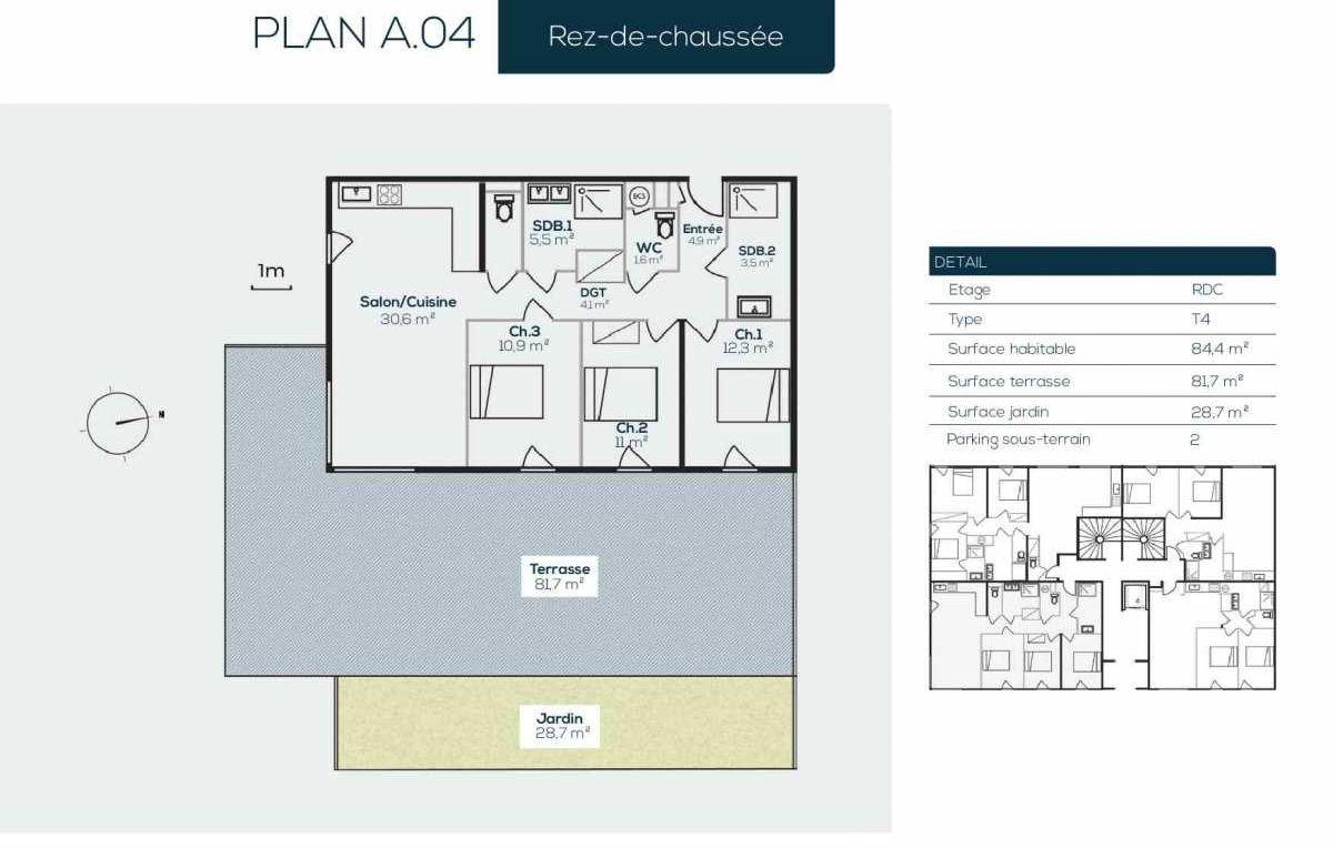 Plan A0-4, appartement neuf type T4 au Rez de jardin, orienté Sud faisant 84m² du programme neuf SANARIAN à Sanary-sur-Mer.