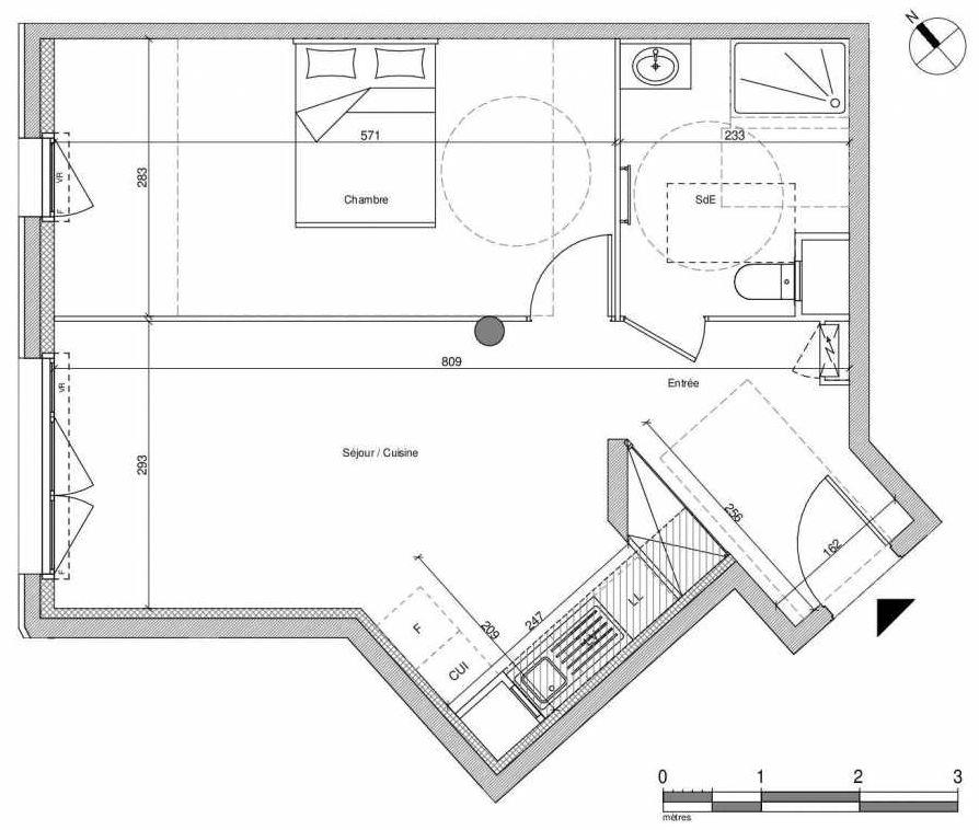 Plan A001, appartement neuf type T2 au Rez de chaussée, faisant 47m² du programme neuf 12 Liberty à Chennevières-sur-Marne.