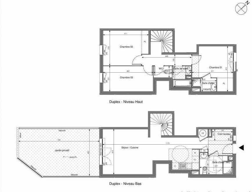 Plan A001, appartement neuf type T4 au Rez de jardin, orienté Sud faisant 90m² du programme neuf Impulsion à Marseille.