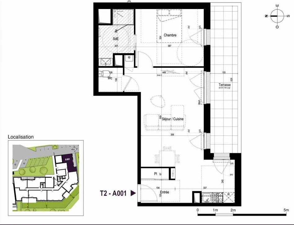Plan A001, appartement neuf type T2 au Rez de chaussée, orienté Sud faisant 52m² du programme neuf LA TRAVERSEE à Saint-Nazaire.