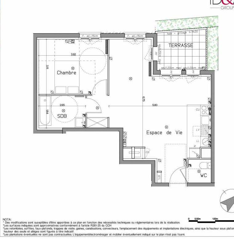 Plan A001, appartement neuf type T2 au Rez de chaussée, orienté Nord faisant 53m² du programme neuf LE HAMEAU DU ROI à Le Mesnil-le-Roi.