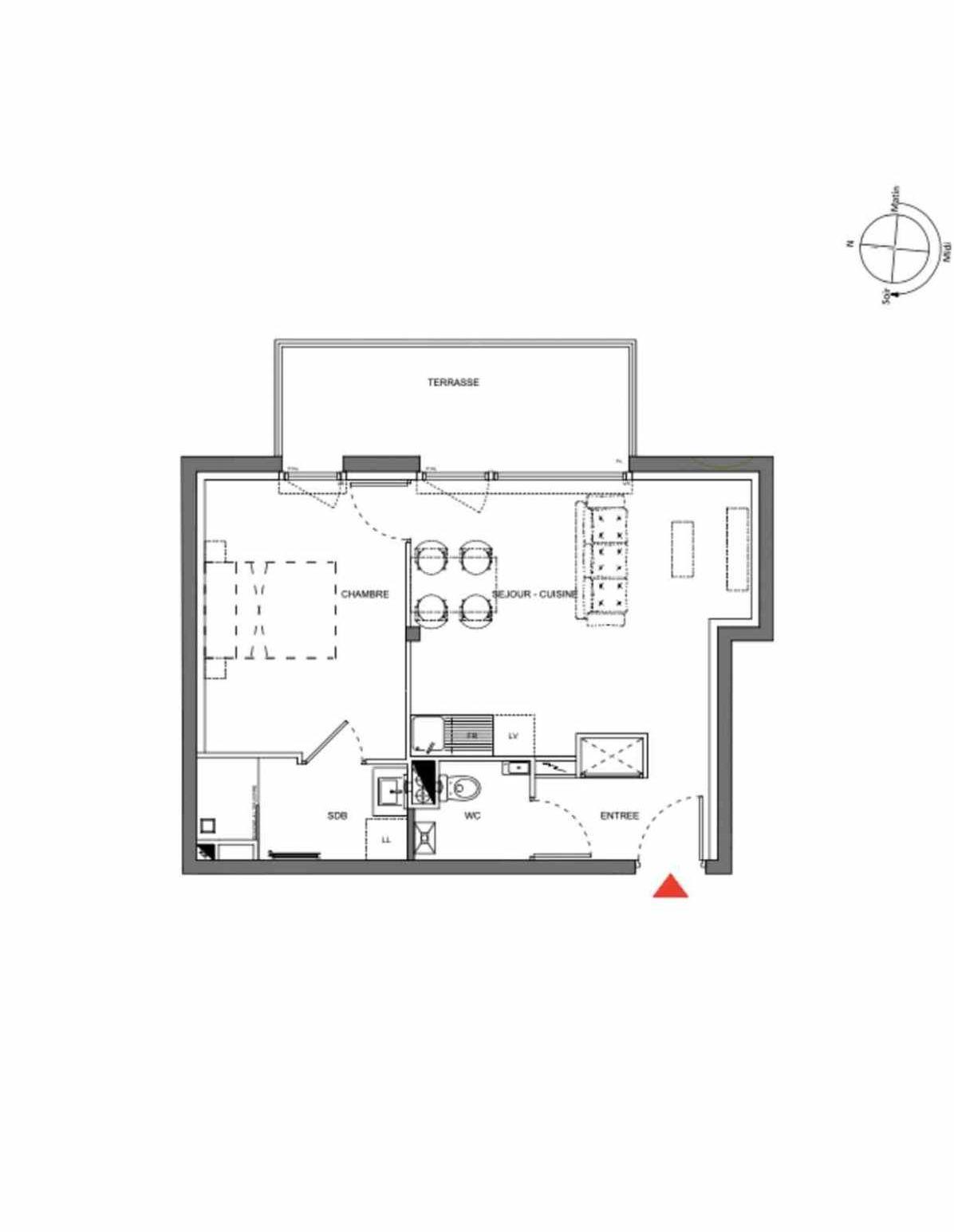 Plan A001, appartement neuf type T2 au Rez de chaussée, orienté Est faisant 45m² du programme neuf Les Demeures d'Henriville à Amiens.