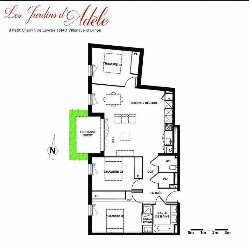 Plan A001, appartement neuf type T4 au Rez de chaussée, orienté Ouest faisant 85m² du programme neuf Les Jardins d'Adèle à Villenave-d'Ornon.