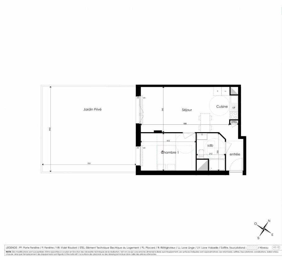 Plan A001, appartement neuf type T2 au Rez de chaussée, faisant 45m² du programme neuf Les Jardins d'Arc à Amiens.