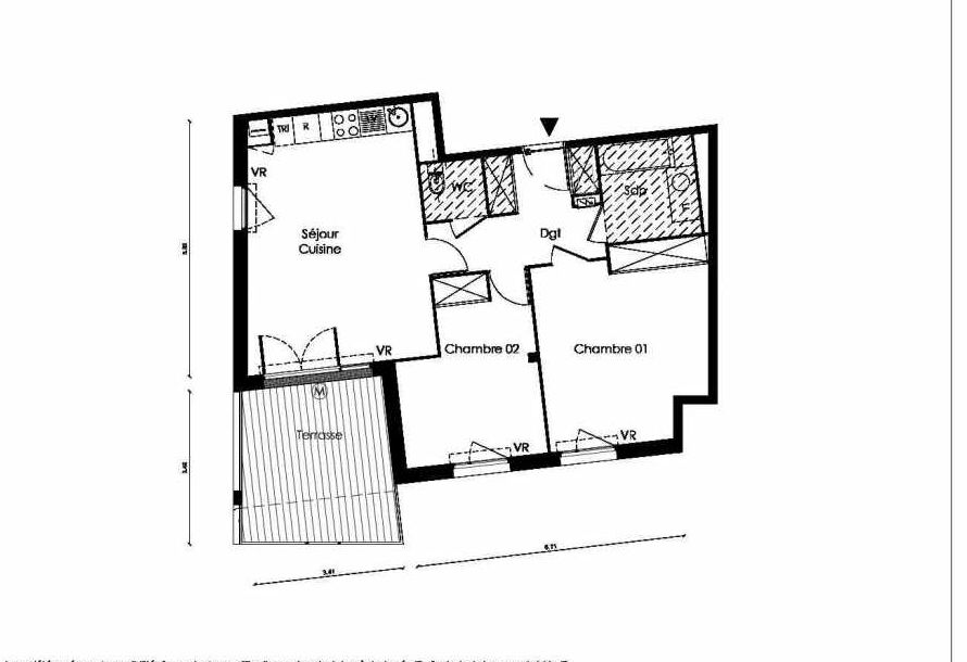 Plan A001, appartement neuf type T3 au Rez de chaussée, faisant 67m² du programme neuf TOSCANI SIENNE à Saint-Orens-de-Gameville.