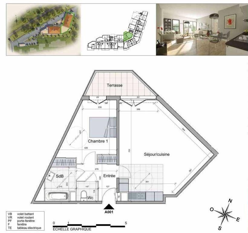 Plan A001, appartement neuf type T2 au Rez de chaussée, orienté Nord faisant 60m² du programme neuf TOULON ESTEREL à Toulon.
