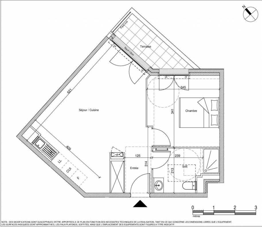 Plan A002, appartement neuf type T2 au Rez de chaussée, faisant 45m² du programme neuf 12 Liberty à Chennevières-sur-Marne.