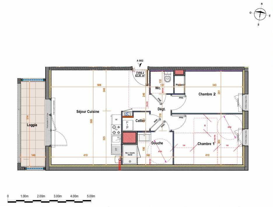 Plan A002, appartement neuf type T3 au Rez de chaussée, orienté Ouest faisant 62m² du programme neuf 141 Cé à Angers.