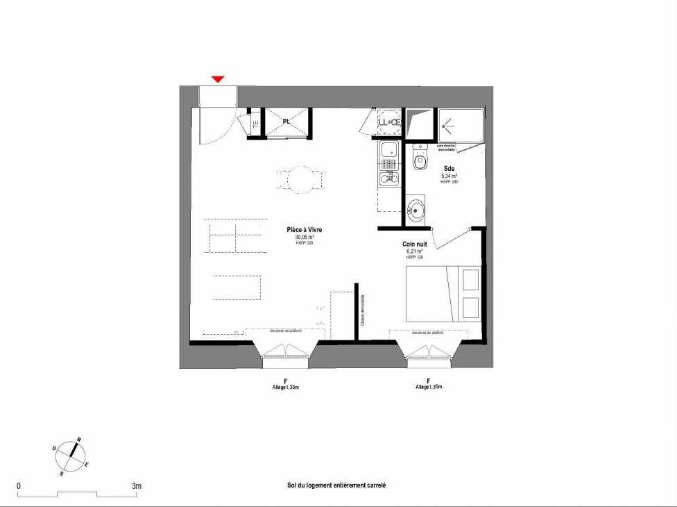 Plan A002, appartement neuf type T1 au Rez de chaussée, orienté Sud faisant 42m² du programme neuf 1708 à Fontainebleau.