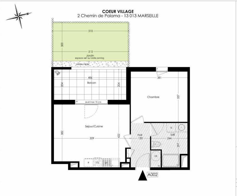 Plan A002, appartement neuf type T2 au Rez de chaussée, orienté Ouest faisant 44m² du programme neuf Coeur Village à Marseille.