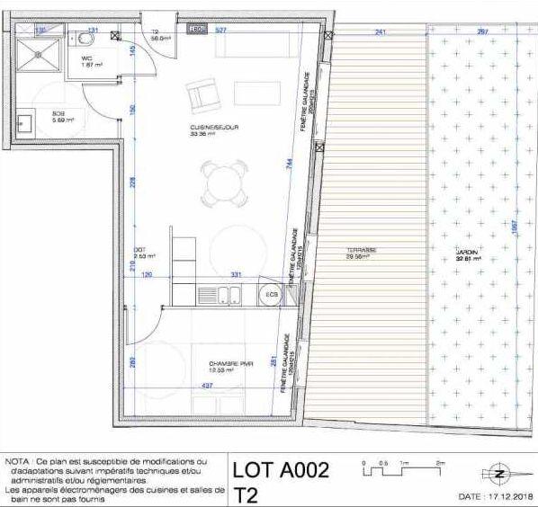 Plan A002, appartement neuf type T2 au Rez de jardin, orienté Nord faisant 56m² du programme neuf L'ESCAPADE à Le Pré-Saint-Gervais.