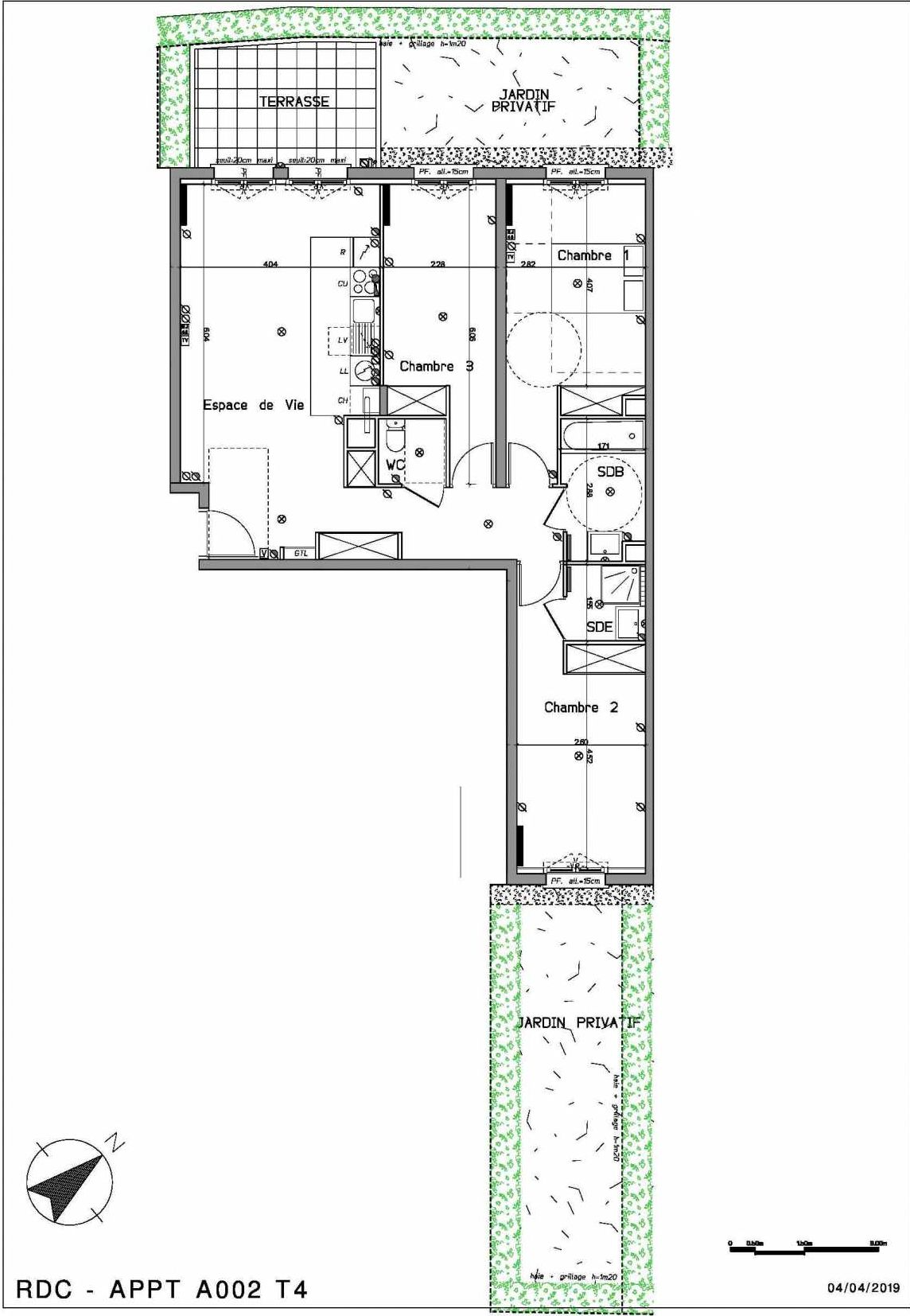 Plan A002, appartement neuf type T4 au Rez de chaussée, orienté Nord faisant 83m² du programme neuf LE HAMEAU DU ROI à Le Mesnil-le-Roi.