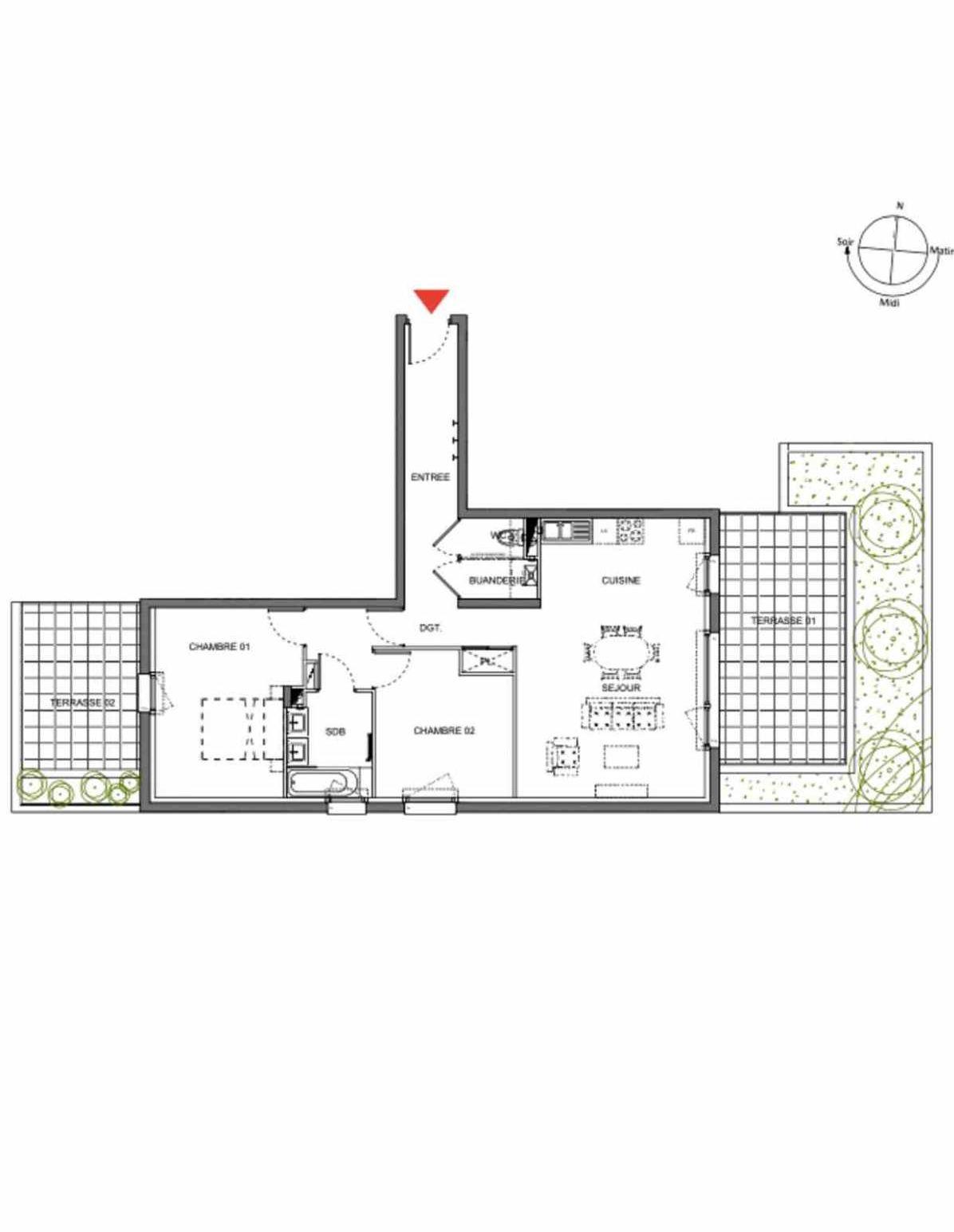 Plan A002, appartement neuf type T3 au Rez de chaussée, orienté Sud faisant 74m² du programme neuf Les Demeures d'Henriville à Amiens.