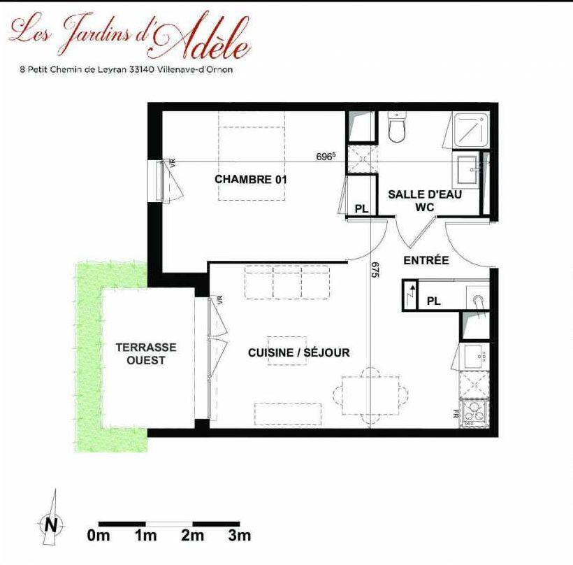 Plan A002, appartement neuf type T2 au Rez de chaussée, orienté Ouest faisant 42m² du programme neuf Les Jardins d'Adèle à Villenave-d'Ornon.