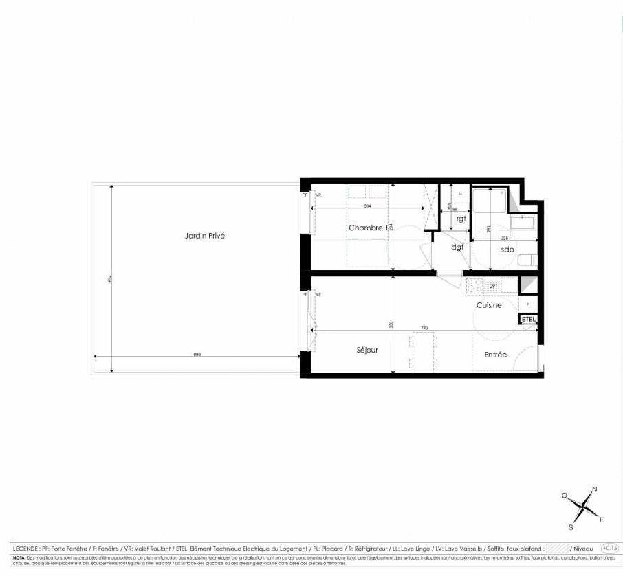 Plan A002, appartement neuf type T2 au Rez de chaussée, faisant 46m² du programme neuf Les Jardins d'Arc à Amiens.