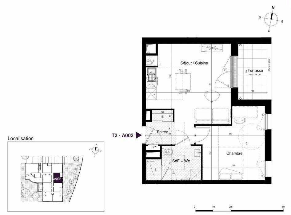 Plan A002, appartement neuf type T2 au Rez de chaussée, orienté Est faisant 43m² du programme neuf LES RIVES DE LUCE à Sainte-Luce-sur-Loire.