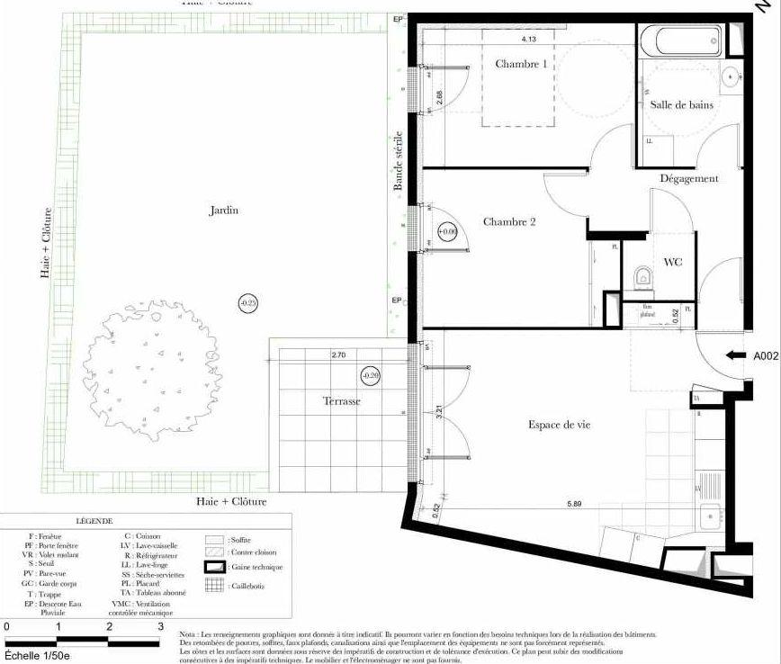 Plan A002, appartement neuf, orienté Sud faisant 60m² du programme neuf Symbiose à Bezons.