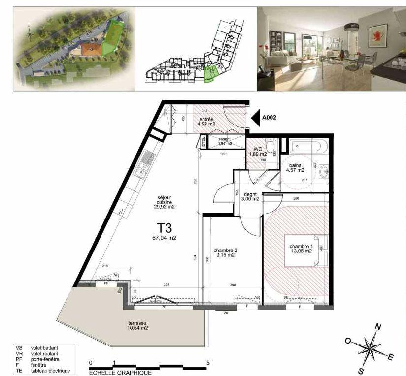 Plan A002, appartement neuf type T3 au Rez de chaussée, faisant 66m² du programme neuf TOULON ESTEREL à Toulon.