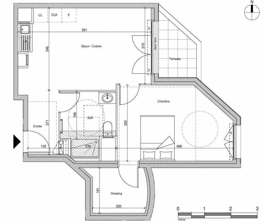 Plan A003, appartement neuf type T2 au Rez de chaussée, faisant 46m² du programme neuf 12 Liberty à Chennevières-sur-Marne.