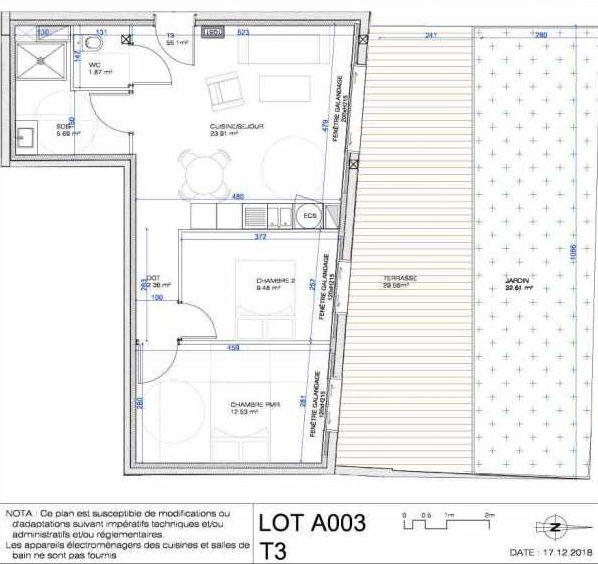 Plan A003, appartement neuf type T3 au Rez de jardin, orienté Nord faisant 56m² du programme neuf L'ESCAPADE à Le Pré-Saint-Gervais.