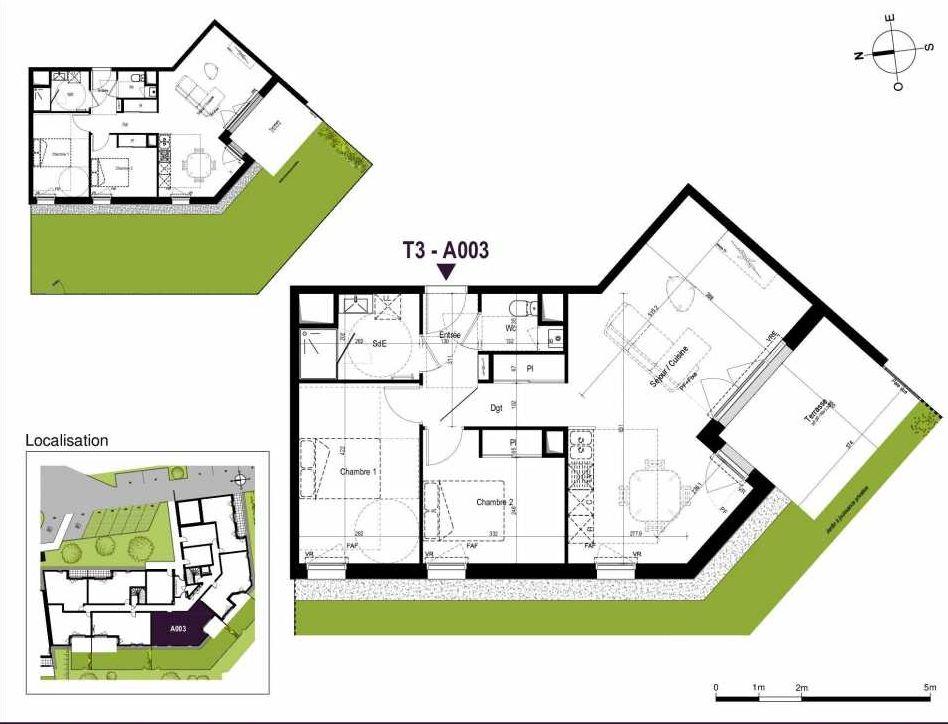 Plan A003, appartement neuf type T3 au Rez de chaussée, orienté Sud faisant 67m² du programme neuf LA TRAVERSEE à Saint-Nazaire.