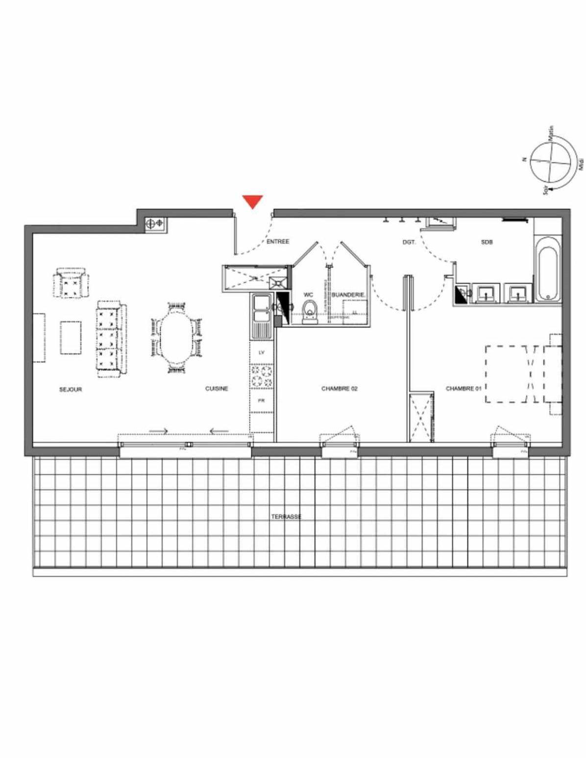 Plan A003, appartement neuf type T3 au Rez de chaussée, orienté Ouest faisant 70m² du programme neuf Les Demeures d'Henriville à Amiens.