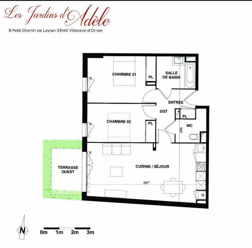 Plan A003, appartement neuf type T3 au Rez de chaussée, orienté Ouest faisant 66m² du programme neuf Les Jardins d'Adèle à Villenave-d'Ornon.