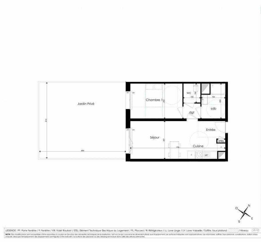 Plan A003, appartement neuf type T2 au Rez de chaussée, faisant 44m² du programme neuf Les Jardins d'Arc à Amiens.