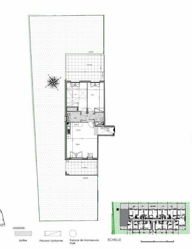 Plan A003, appartement neuf type T3 au Rez de jardin, orienté Sud faisant 62m² du programme neuf Loderi à Bormes-les-Mimosas.