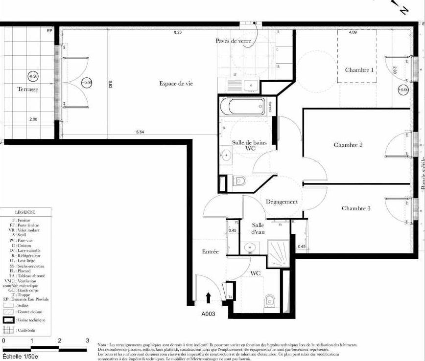 Plan A003, appartement neuf type T4 au Rez de chaussée, orienté Sud faisant 84m² du programme neuf Symbiose à Bezons.