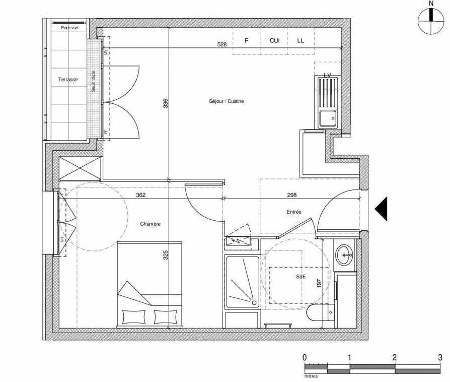 Plan A004, appartement neuf type T2 au Rez de chaussée, faisant 37m² du programme neuf 12 Liberty à Chennevières-sur-Marne.